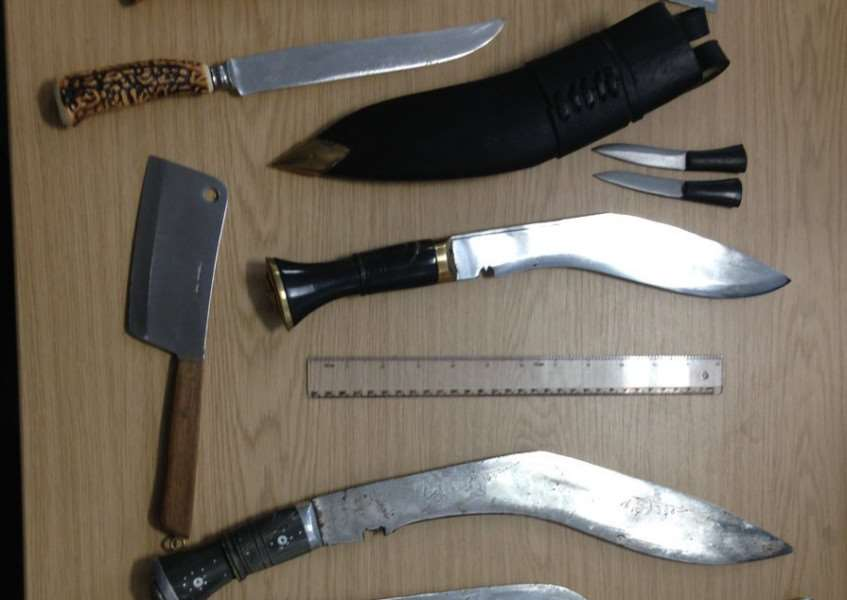 Knives deposited in the Bury St Edmunds bin recently