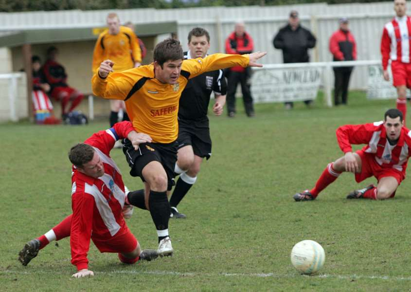 THROWBACK: Simpson in action for Mildenhall in March 2009 against Felixstowe