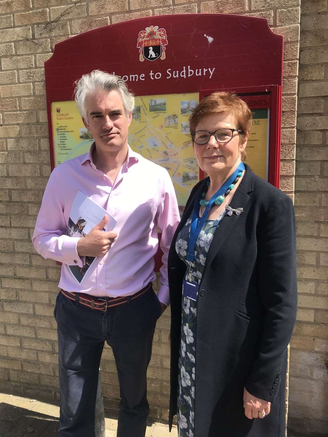 South Suffolk MP James Cartlidge meets Suffolk County Council deputy leader Mary Evans over proposed cuts to subsidies for 23 public bus routes in Suffolk. Contributed picture. (14915396)