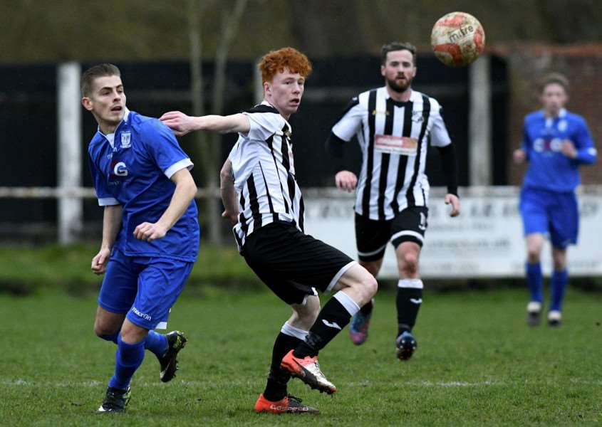 Craig Pruden, left, scored Haverhill Borough's first goal in their 2-0 win over Diss Town. ''Picture: MARK BULLIMORE