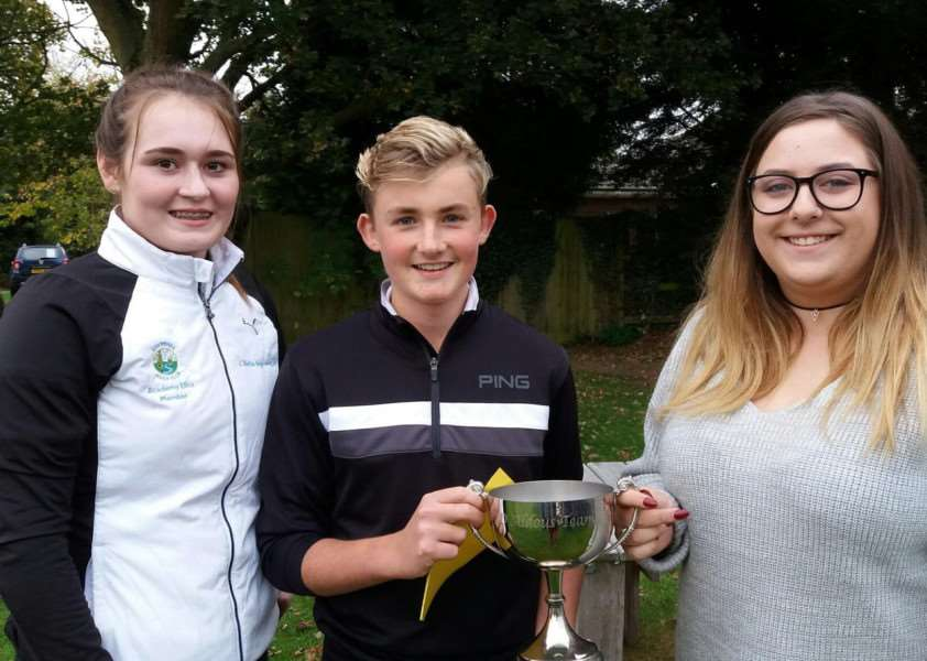 ALDOUS CUP WINNERS: Fiona Stokes and James Iron with Eloise Aldous, the Suffolk Girls' Junior Organiser