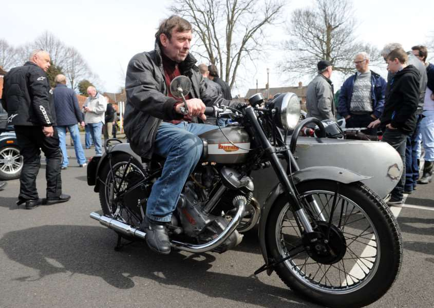 The Suffolk Classic Motorcycle Show''Pictured: Richard Andrews and his 1951 600 Panther ANL-161004-205505009