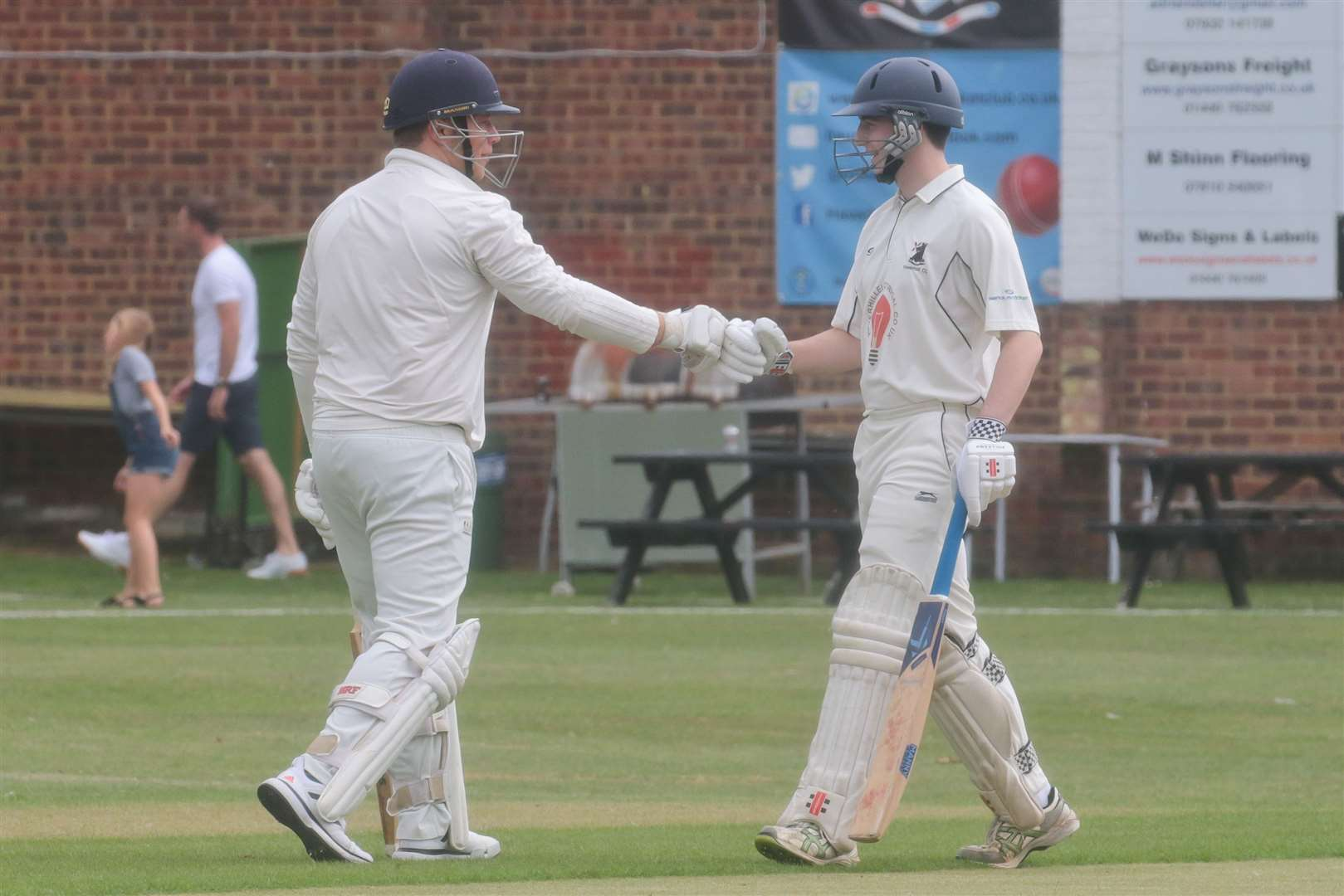 BF-10-08-2019-020-GD Haverhill batsman Sam Charlton congratulates Sam Street on a Four. (15076145)