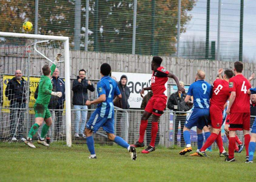 SO CLOSE: Mekhi McKenzie saw this header clip the crossbar during Saturday's draw at Ware in the Bostik League Division One North