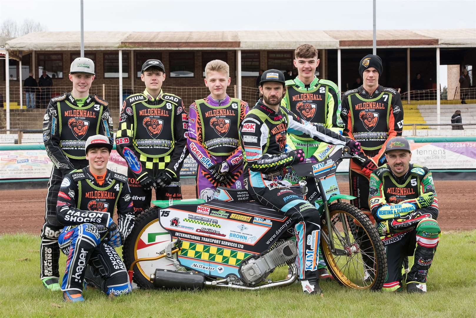 Mildenhall Fen Tigers Press and Practice DayFen Tigers team 2019 Danny Ayres, Sam Bebee, Charlie Brooks, Jason Edwards, Dave Wallinger, Elliot Kelly, Macauley Leek and Sam Norris Picture by Mark Westley. (8577082)