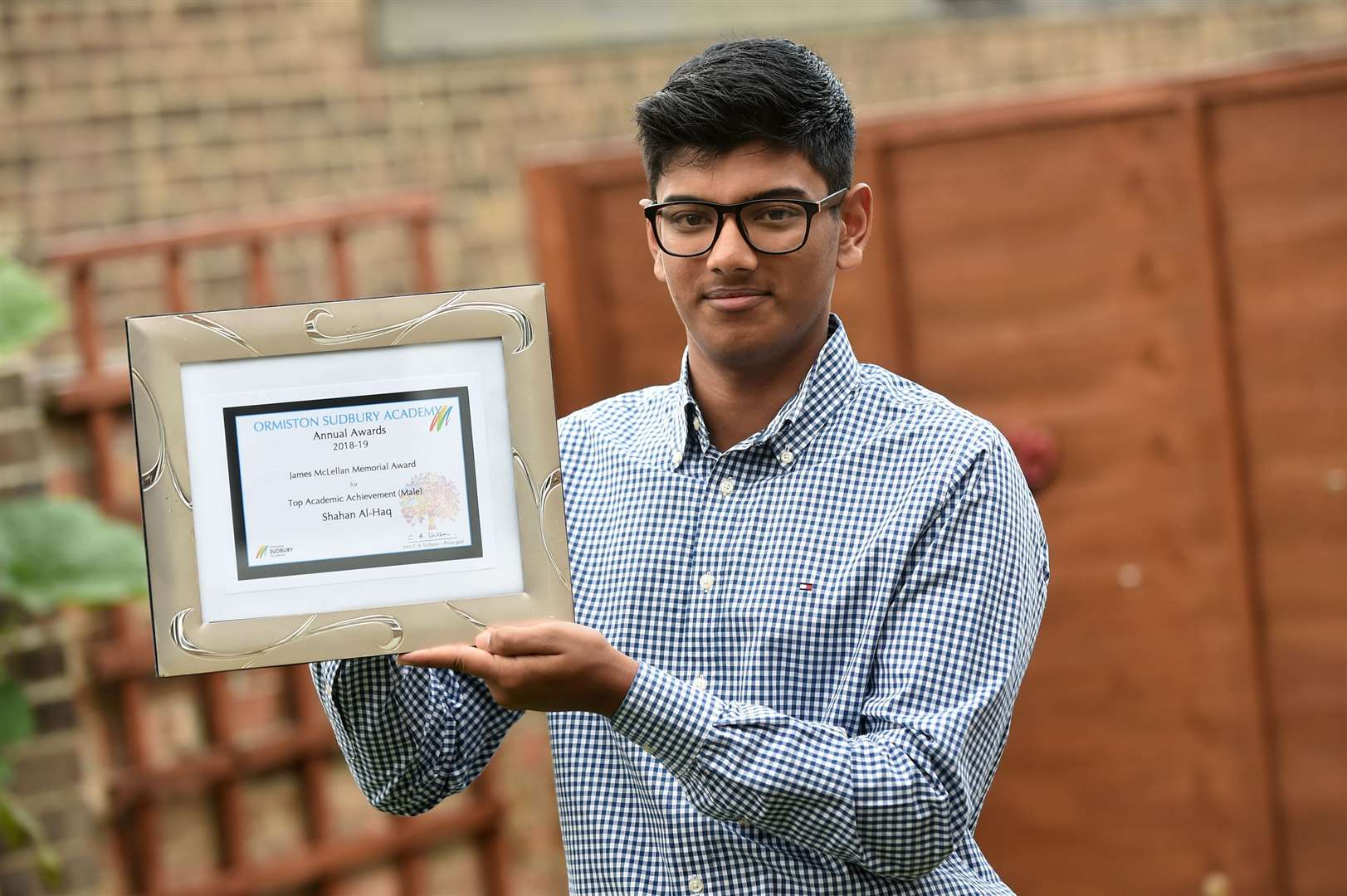 Shahan Al-Haq, of Long Melford, was recognised live on The Sunday Show on Channel S, a UK-based channel for the British Bangladeshi community, after winning the James McLellan Memorial Award, for being the highest-achieving A-level student at Ormiston Sudbury Academy.....PICTURE: Mecha Morton .... (17242995)