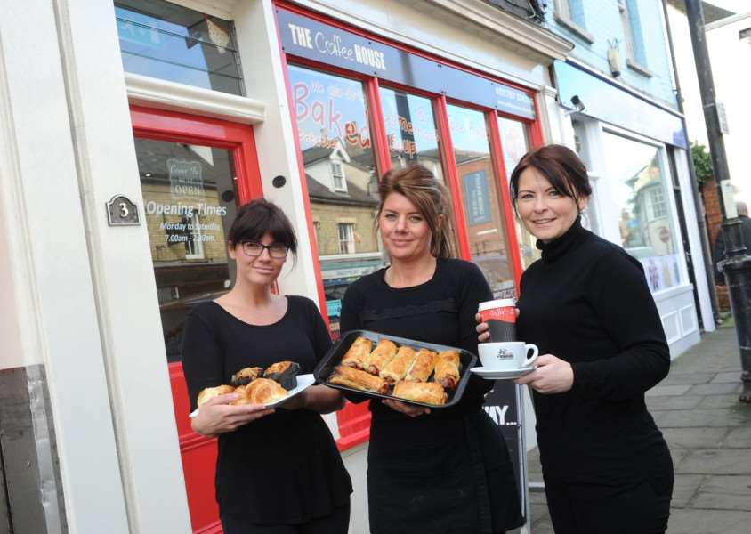 The Coffee House opposite Gainsborough's House opened 4 years ago and is doing extremely well despite being closed after the Friars Street fire. ''Pictured: Claire (sister) and Katie Barnbrook (Co owner) with Marie Dann (Co owner)