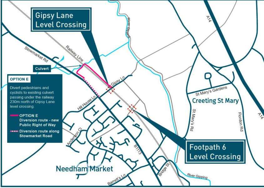 A map of the route for paths leading to Network Rail's proposed culvert underpass alternative to Needham Market's Gipsy Lane crossing ANL-161123-152808001