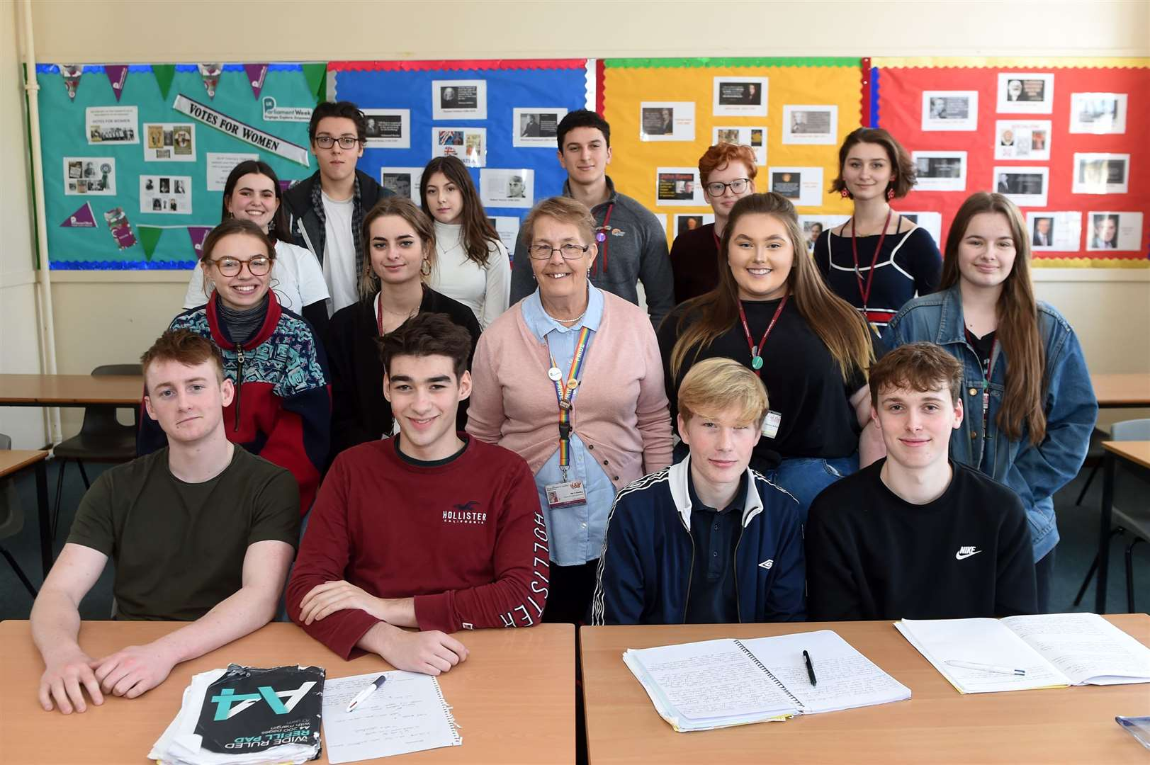 Sharon Shelley government and politics teacher at King Edward VI School with her students. Picture by Mecha Morton.