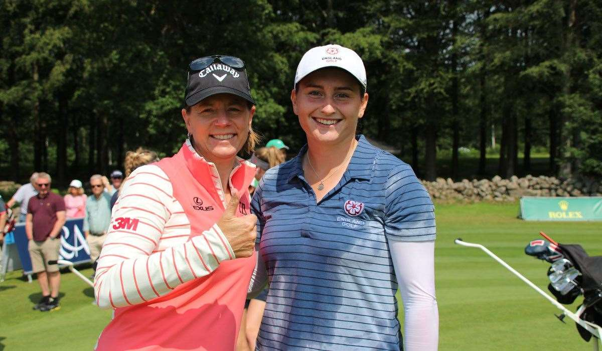 Annika Sorenstam congratulates Lily May Humphreys Picture: Annika Foundation