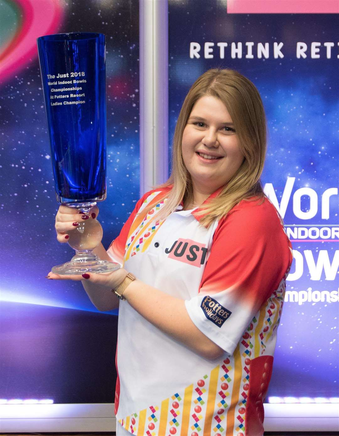 Katherine Rednall with the Langham Glass trophy after beating Bex Field (13-3, 13-6) in the Ladies' Singles final of the World Indoor Bowls Championships 2018. (6566250)