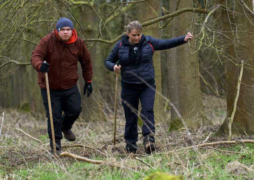 Cavenham, Suffolk. Members of the Suffolk Lowland Search and Rescue (SULSAR) and public take part in the third public search for the missing RAF serviceman Corrie McKeague. Pictured is Corrie's mother Nicola Urquhart with his brother Makeyan taking part in the search. ''Picture: MARK BULLIMORE