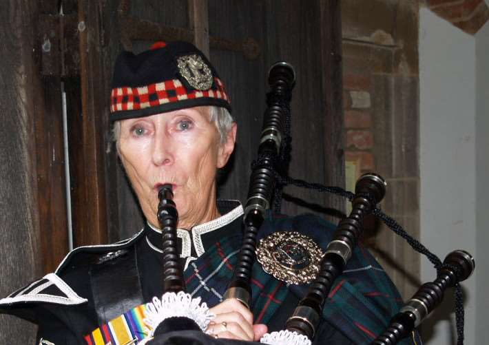 A service was held at St Mary's Church, Chilton, honouring the war dead of the parish, many having died or fought at Gallipoli. Pictured piper Trish Drawbridge ANL-150828-145526001
