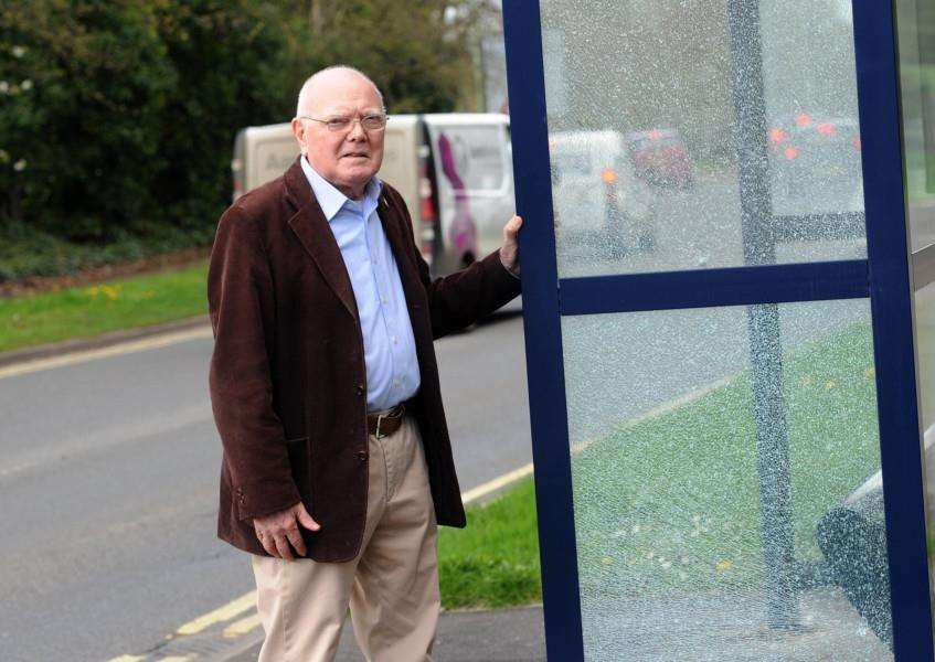 Bus stop on Moreton Hall that has been vandalised''Pictured: Cllr Frank Warby''''PICTURE: Mecha Morton