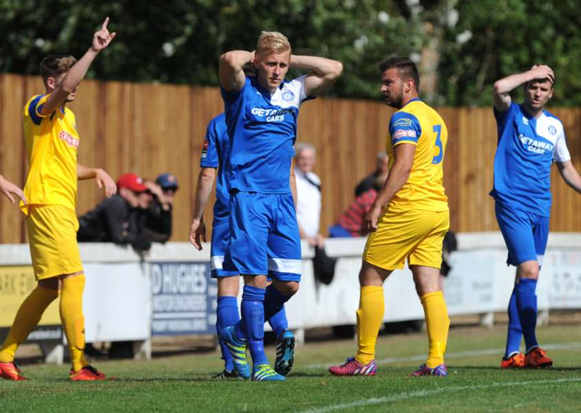 MISSED CHANCES: Bury Town's Phil Weavers (centre) and Ollie Canfer (right) in dismay after a chance goes begging against Spalding United on Saturday