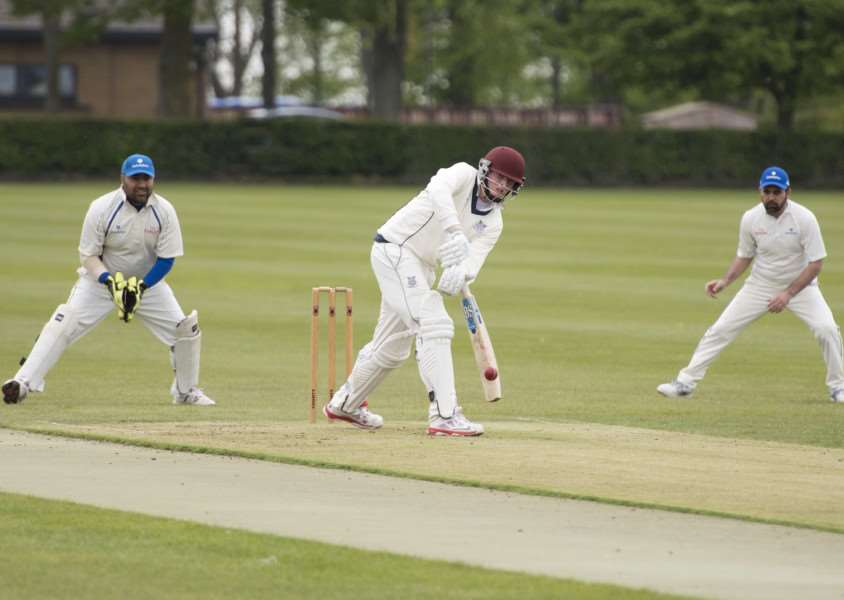 AIMING HIGH: Fordham batsman Dan Labuschagne in friendly action against Godolphin