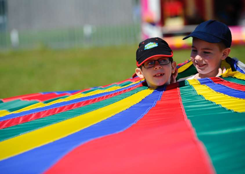 Youngsters enjoying the parachute activity