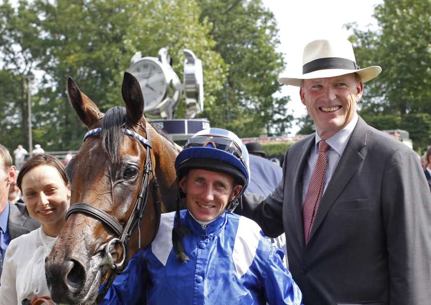 REPEAT PERFORMANCE? Newmarket trainer John Gosden (far right) hopes to repeat his 2014 Oaks win with Taghrooda, and even take the Epsom double