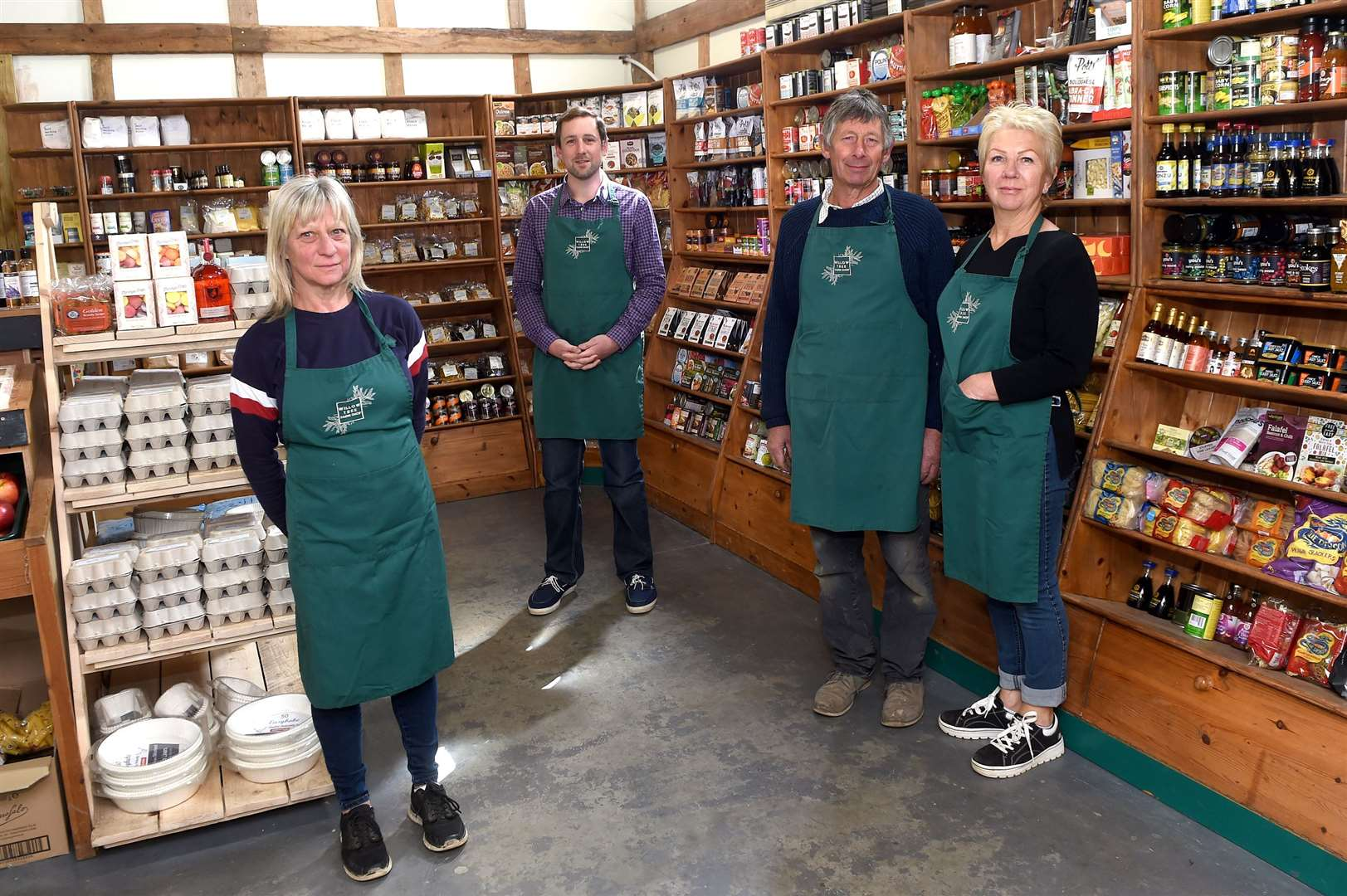 The team at Willow Tree Farm Shop have been working hard to provide essential goods for customers during lockdown....Pictured: Claire Wheeler, Matthew Russell with parents Deborah and Michael ....PICTURE: Mecha Morton .... (34557509)