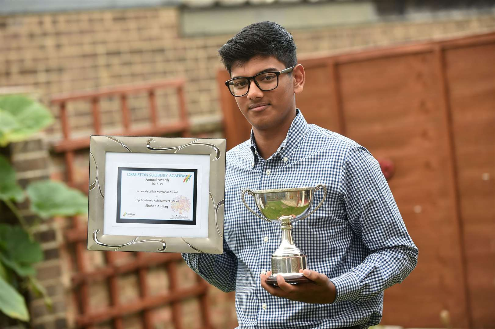 Shahan Al-Haq, of Long Melford, was recognised live on The Sunday Show on Channel S, a UK-based channel for the British Bangladeshi community, after winning the James McLellan Memorial Award, for being the highest-achieving A-level student at Ormiston Sudbury Academy.....PICTURE: Mecha Morton .... (17242994)