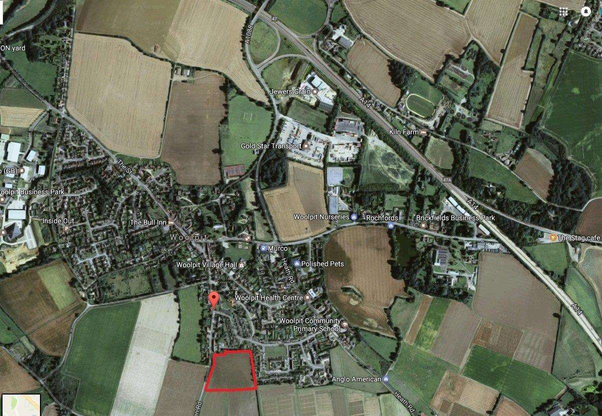 The site off Green Road, Woolpit, where 49 homes have been approved