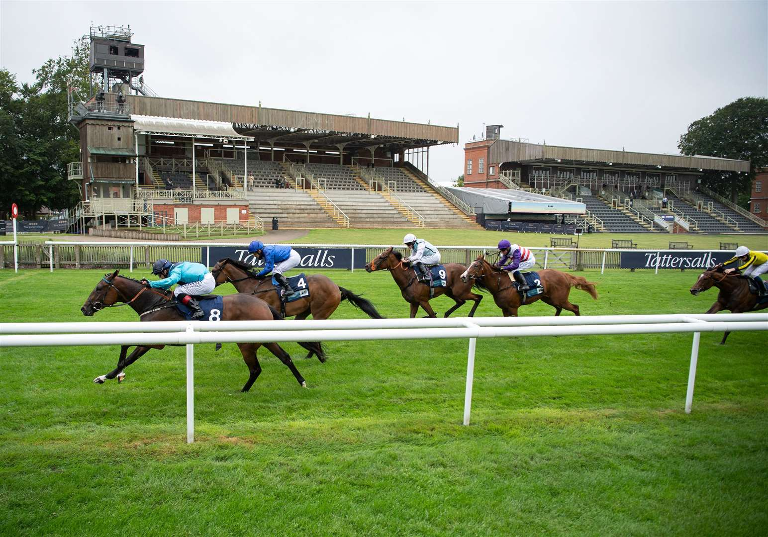 Racing behind closed doors at Newmarket's July Course this summer. Picture Edward Whitaker/ Racing Post