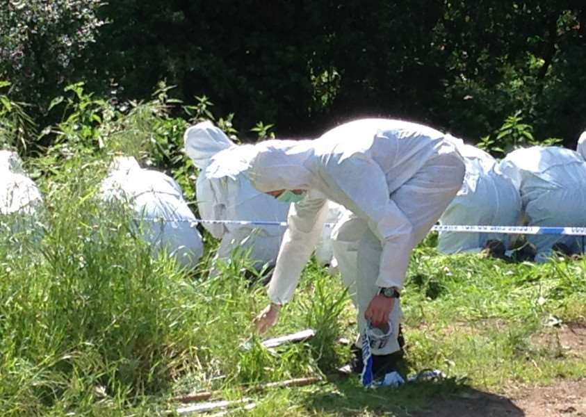 Forensic investigators search Weybread area as part of murder enquiry.