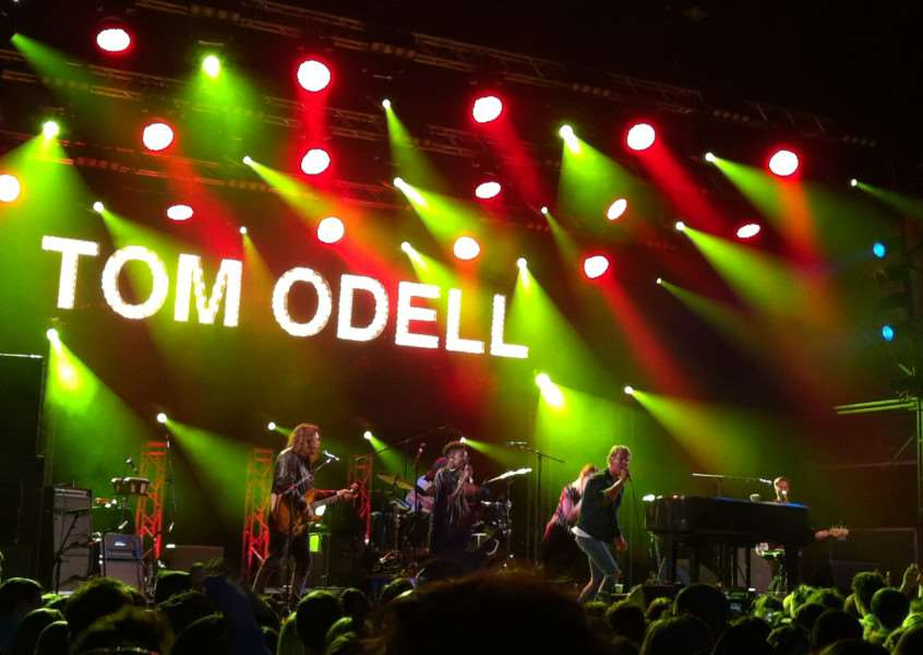 Tom Odell performing at Thetford Forest. ANL-150607-101844001
