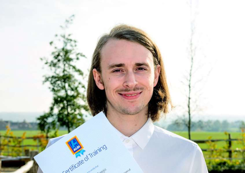 Joel Peter Boggis celebrate his graduation from the Aldi Apprenticeship scheme at The Lion, Boreham, Essex, UK ANL-150611-163853001