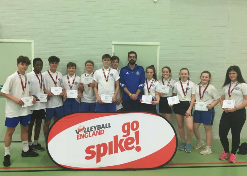 DOUBLE TROUBLE: Both the boys and girls U15 volleyball teams won their age category at the Suffolk School Games County Finals