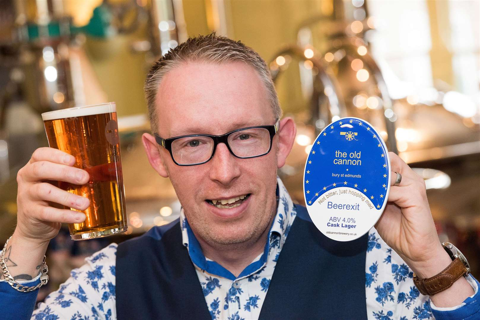 Old Canon Brewery Bury St Edmunds Craig Nicholls manager with their new Brexit Beer. Picture Mark Westley. (7026395)