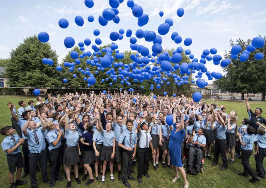 Balloon launch for St Louis Catholic Middle School'St Louis Catholic Middle School, St Andrews Street, Bury St Edmunds'Picture Mark Westley ANL-160720-220959009