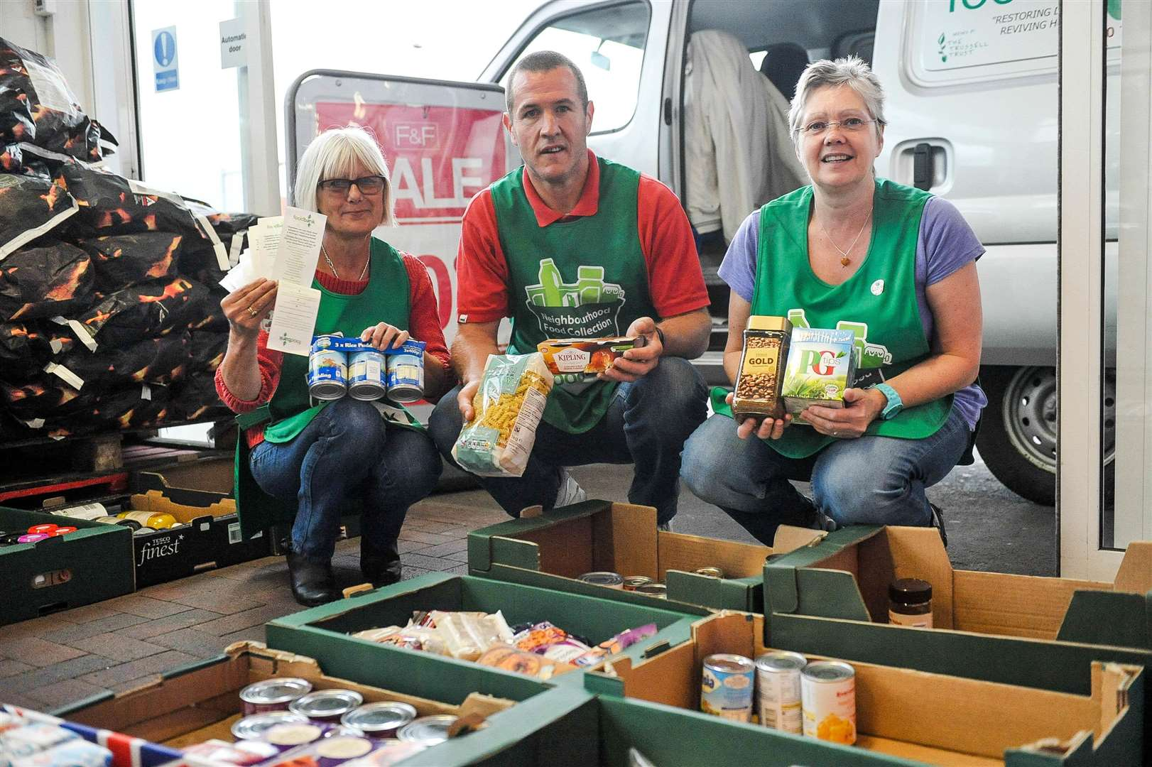 Lesley Cogger, Gavin McConkey and Ann Allen (right) at a previous food collection by Tesco for the Haverhill Foodbank