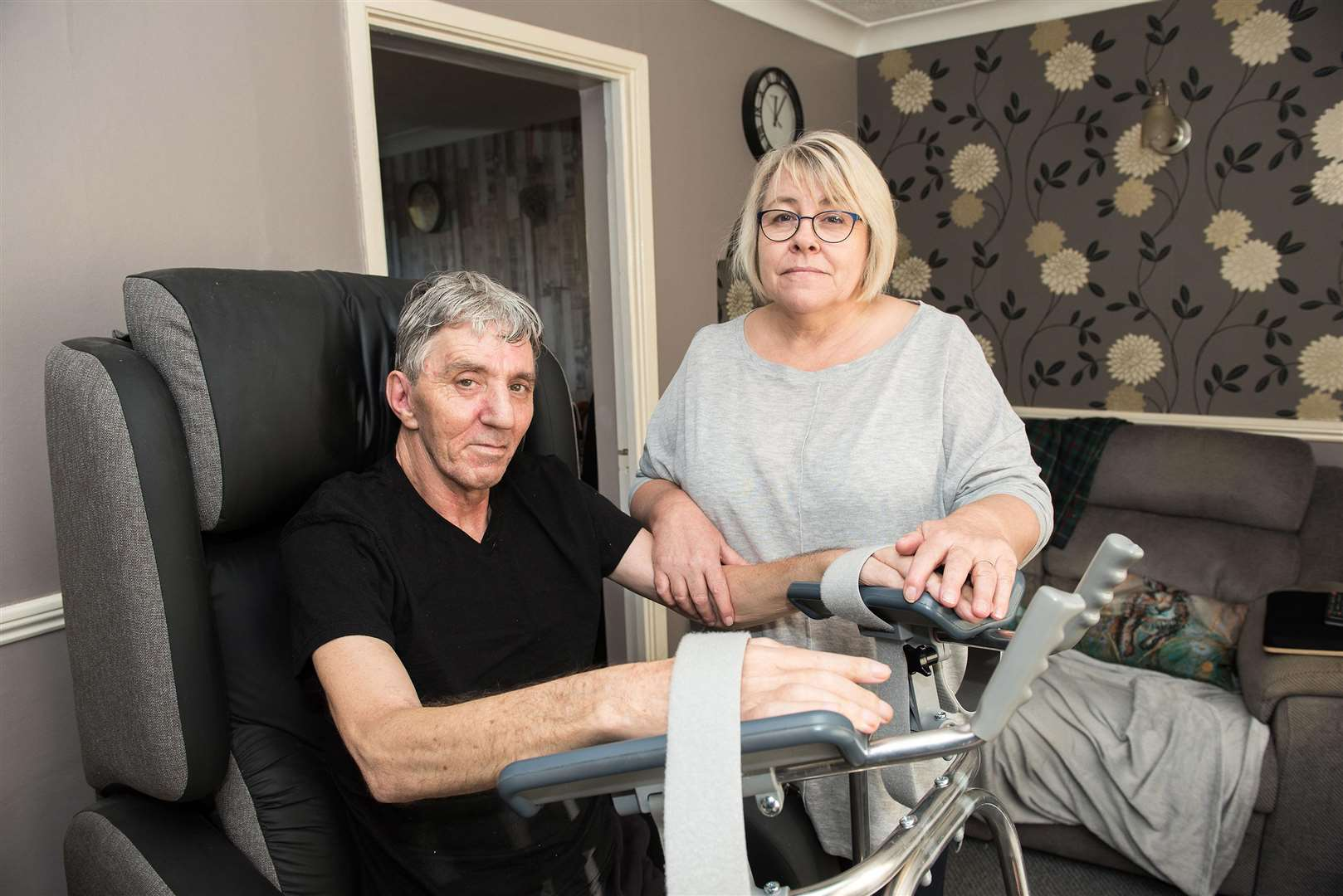 Colin and Jo White are fund-raising and issuing a call for help to build a conservatory and adapt the entrance at the back of their Bury St Edmunds home so Colin, who was left partially paralysed after a fall last December, can look out on to his beloved garden. Picture: Mark Westley.