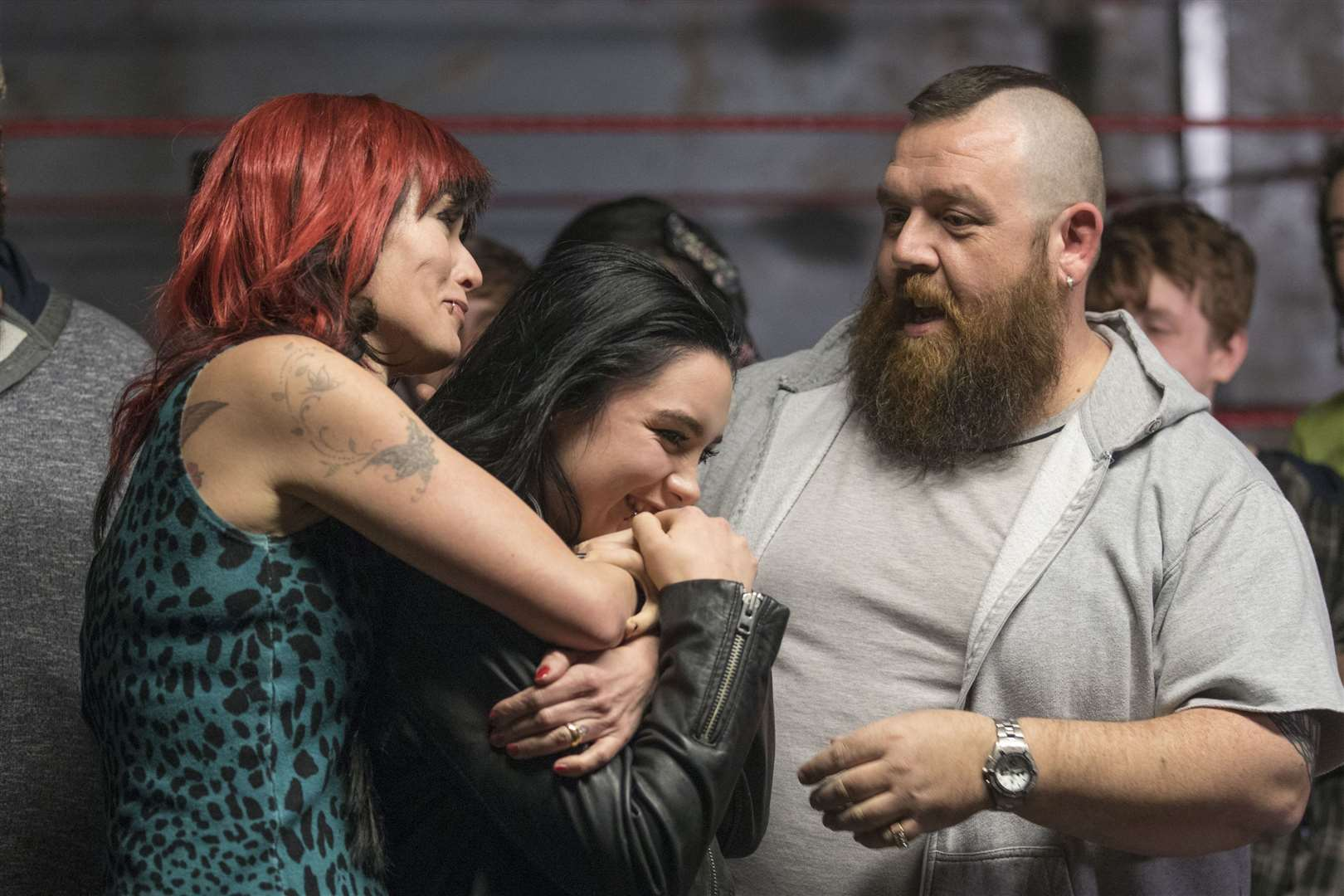 Lena Headey as Julia Knight, Florence Pugh as Paige Knight and Nick Frost as Ricky Knight in Fighting with My Family. Picture by PA Photo/Metro-Goldwyn-Mayer Pictures Inc./Robert Viglasky.