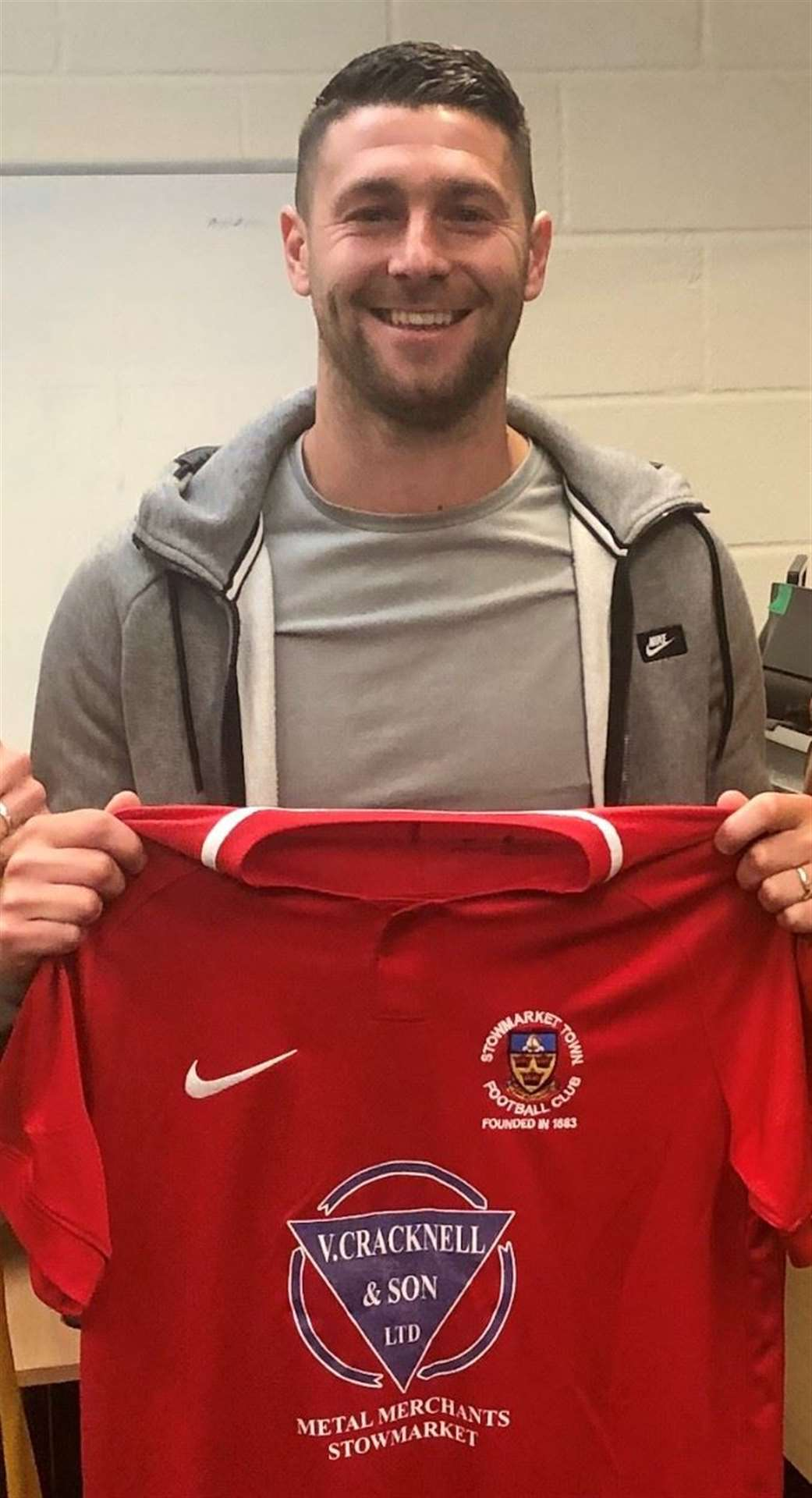 Stowmarket Town's new signing Jack Ainsley with the club's away shirt Picture: Stowmarket Town FC (12473656)
