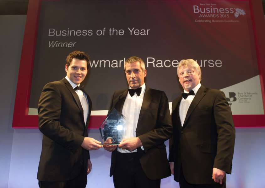 Bury Free Press Business Awards 2015 hosted by Simon Weston''Pictured: Business of the Year Award presented by Matt Moss (Chairman of Bury St Edmunds Chamber) - Newmarket Racecourse ANL-151010-020332009