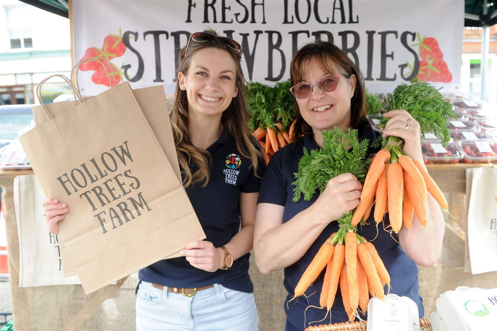 Taste of Sudbury food festival 2019..Pictured: Lauren Stephensons and Sally Bendall from Hollow trees Farm on their stall...PICTURE: Mecha Morton... (12037068)