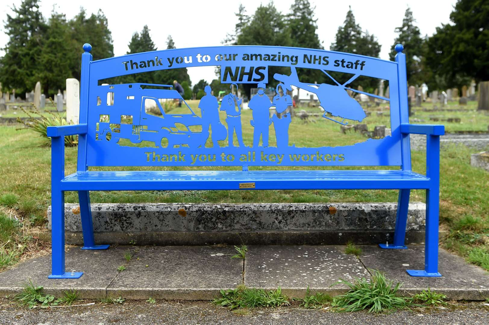 A new bench commemorating the NHS at Bury St Edmunds cemetery. Picture by Mecha Morton