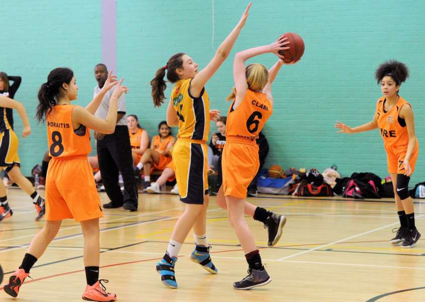 STUBBORN DEFENCE: Kayleigh Brown attempts to intercept a pass