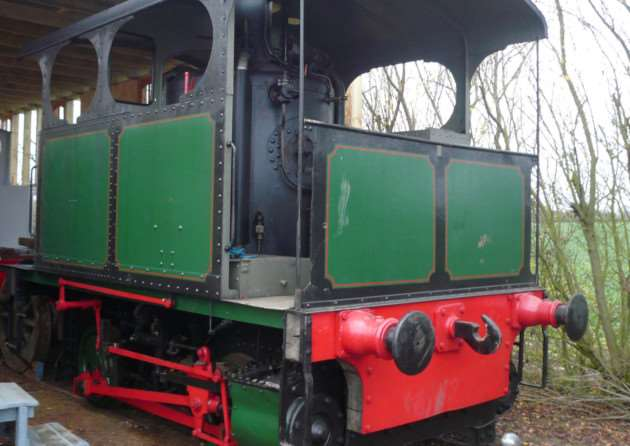 The 1906 Cockerill Tram engine just off the low loader at Mid Suffolk Light Railway ANL-141215-110822001