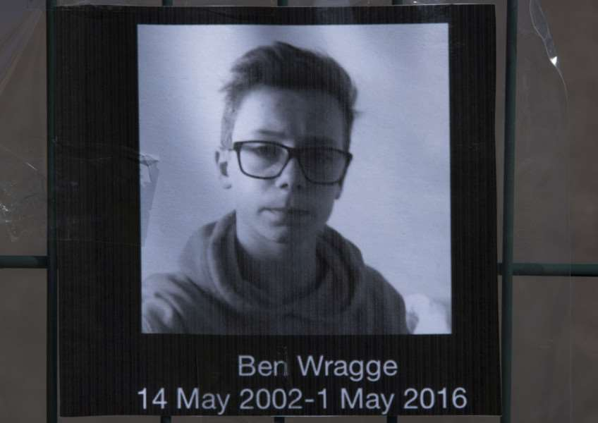 Tributes and flowers for Ben Wragge at Thurston Community College.''Picture Mark Westley ANL-160305-100024009
