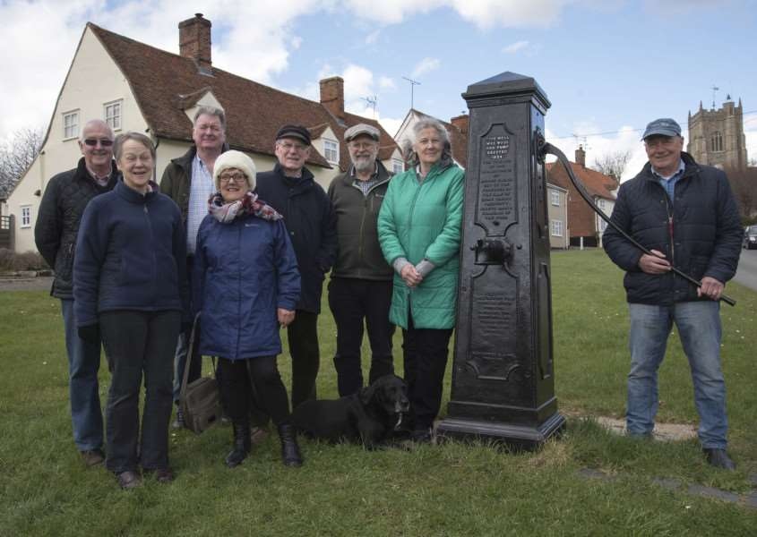 MONKS ELEIGH: parish councillor Don Reynolds with new village pump on thevillage green with local residents Di Reynolds, Ralf Cook, Angela and Jacques Forrest, Arthur Grosset and Jane and Duncan Eyre with Jasmine.'Picture Mark Westley ANL-160329-174603009