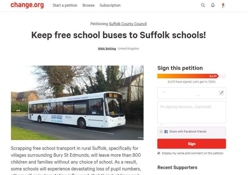 The website for the petition against changes to Suffolk's school transport policy