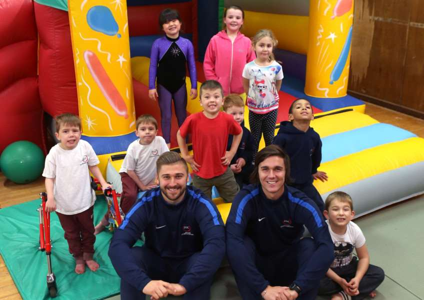 (Front L-R)Alex Archer and Adam Dellar from Dellar Sports Coaching pictured with some of children who use their service at the Samuel Ward Academy in Haverhill. ANL-151114-175422009