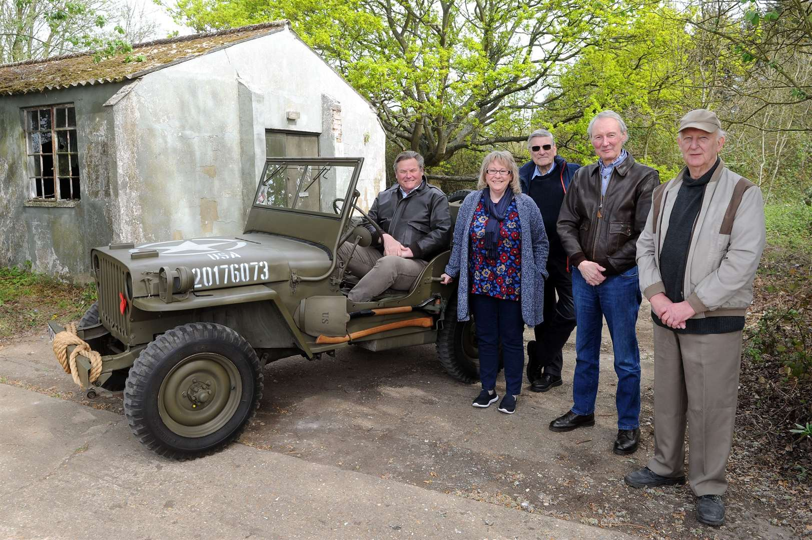 Lavenham Airfield Walks with FOLA (Friends of Lavenham Airfield)..Pictured: Dennis Duffy, Jane Gosling, Bryan Panton, John Broughton and John Cashmere...PICTURE: Mecha Morton.... (19284203)