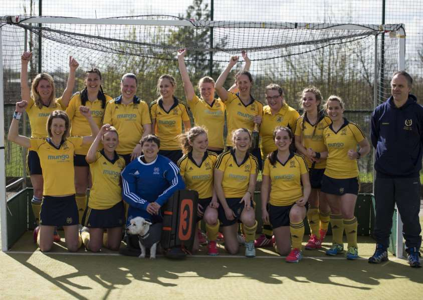 GOING UP: Newmarket Ladies I celebrate their promtion after getting the better of Long Sutton