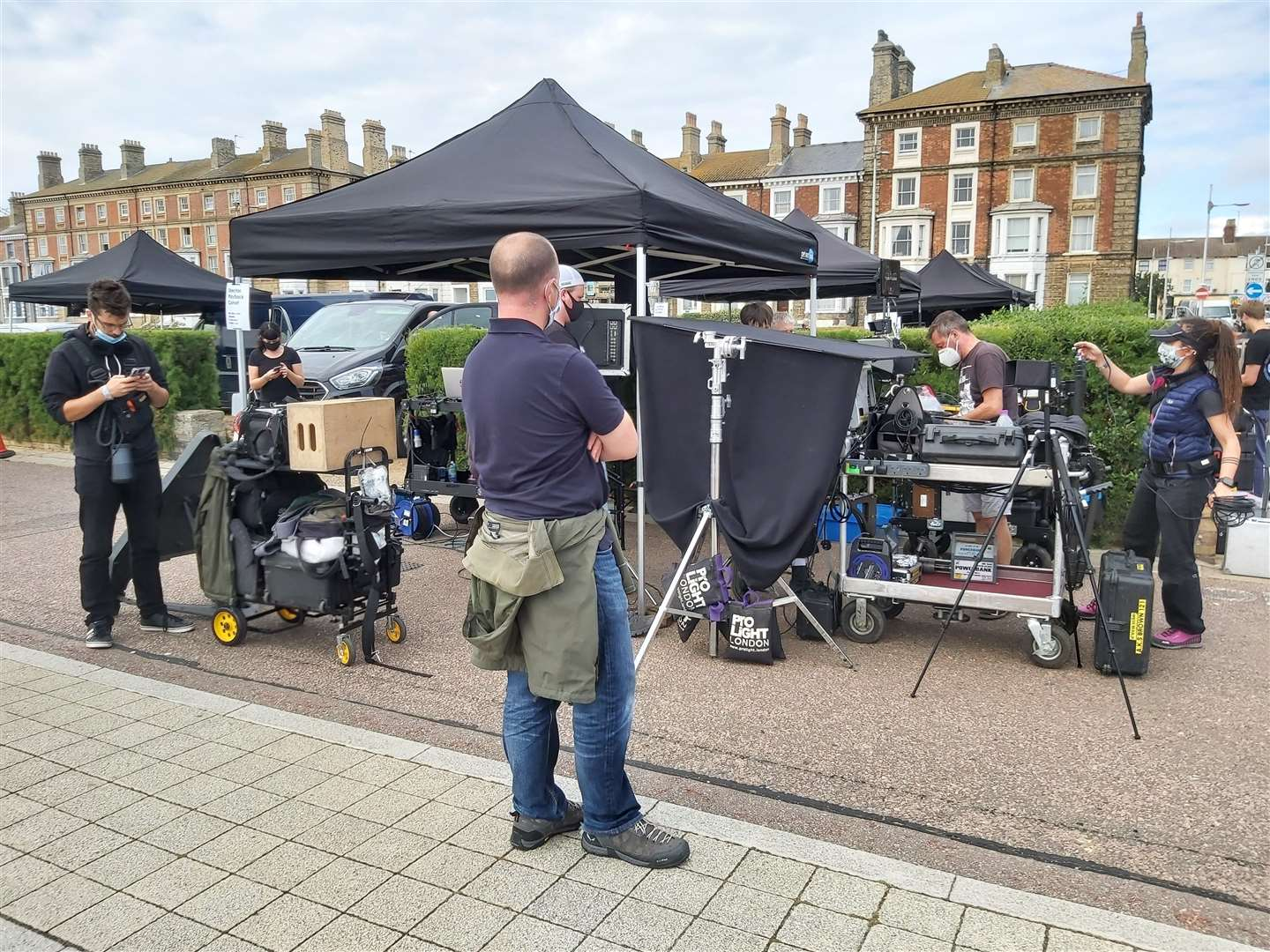 The film crew prepare on the promenade at Lowestoft seafront ahead of filming the closing scenes for the new Burberry advert. Pictures: Screen Suffolk