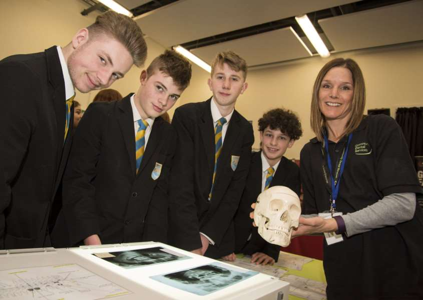 Stour Valley Community School, Cavendish Rd, Clare, Sudbury'School STEM fair (science fair)'Nicola Rice from Community Dental Services, explaining forensic dentistry'Picture Mark Westley