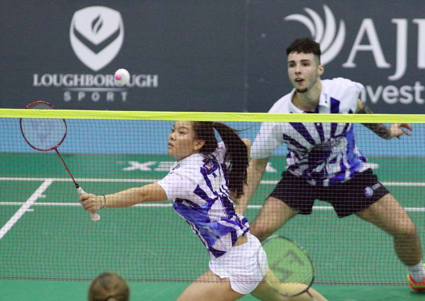 LOUGHBOROUGH, GBR ' 28 November 2016 ' National Badminton League ' Loughborough Lightning's Greg Mairs & Jenny Moore vs Suffolk Saxons' Sean Vendy & Fee Teng Liew. Match played in the Loughborough University Netball & Badminton Centre (Photo by David Crawford / www.stillsport.com)